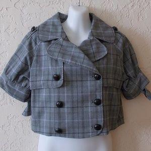 Andrew & Company Cropped Plaid Blazer Size M